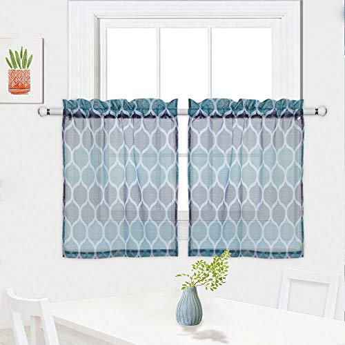 fe Curtains, Geometric Pattern Sheer Short Bathroom Window Curtain, Trellis Design Half Window Covering Voile Tier Curtains, 28
