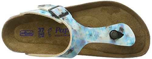Papillio Damen Gizeh Birko-Flor Softfootbed Zehentrenner Mehrfarbig (Pixel Blue Soft)