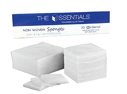 Essentials NW22-1000 3D Dental Non-Woven 2 x 2 Gauze, 4 Ply, Non Sterile and Non Linting (Pack of 5)