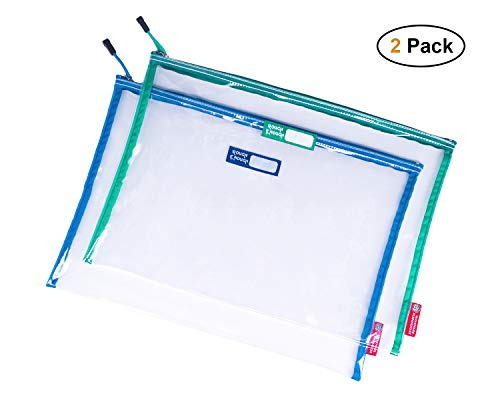 - Rough Enough Clear Plastic Big Transparent File Folders Organizer Holder Bag A4 Letter Manila Size Zipper Pouch Carry Legal Storage with Name Tags for Filing Document Office School Supplies 2 Pack Set