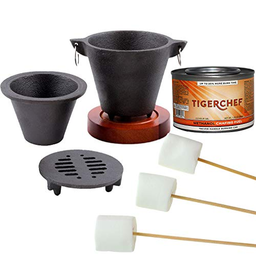 TigerChef Smores Kit Marshmallow Roasting Set Includes Hibachi Grill Set, Chafing Fuel Gel Can, 100 Bamboo Skewers, 1 Bag of Free Kraft Or Similar Brand Marshmallows