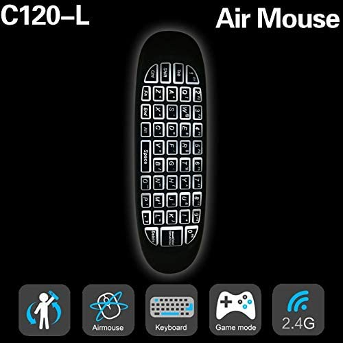 Calvas New Backlight C120 air Mouse 6 axes Gyroscope English Rechargeable C120 Mini Wireless Keyboard 2.4G for Android TV Box PC Color: C120 backlight