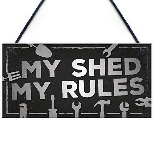 "Meijiafei My Shed Sign Outdoor Garden Shed Man Cave Garage Shop Plaque Dad Grandad Gifts for Men 10"" X 5"""