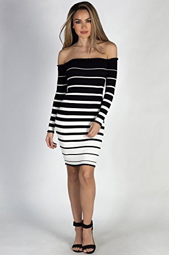 Striped Society Babe Off Black Shoulder White Women's Dress Sweater fpqEdwBq
