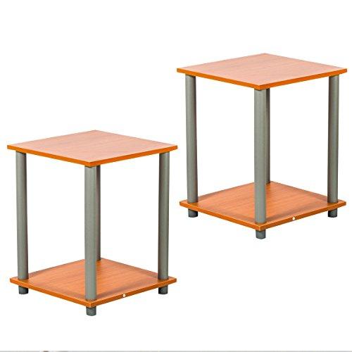 Edencomer Square End Table Simplistic Home Furniture, 2 Sets, Cherry