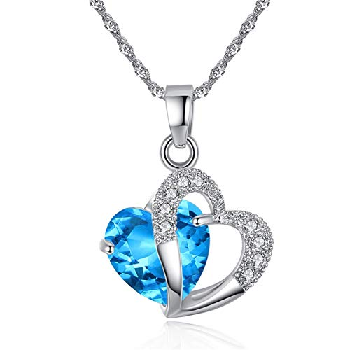 AILUOR Blue Crystal Heart Pendant Necklace, Fashion Women's Silver Artificial Gem Love Heart Shape Pendant Chain ''Forever Lover ''Jewelry for Women Girl Valentines (Blue)