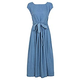CHARLES RICHARDS CR Women's Blue Open Back Bowknot Waist Midi Denim Skater Dress