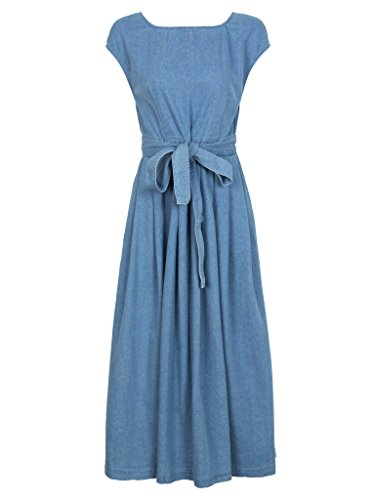 CR Women's Blue Open Back Bowknot Waist Midi Denim Skater Dress