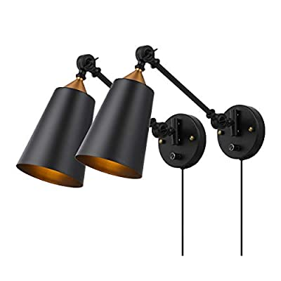 Pauwer Industrial Plug in Wall Sconces Set of 2 with On Off Switch Vintage Edison Swing Arm Wall Lamp Black Metal Shade Wall Light Fixtures