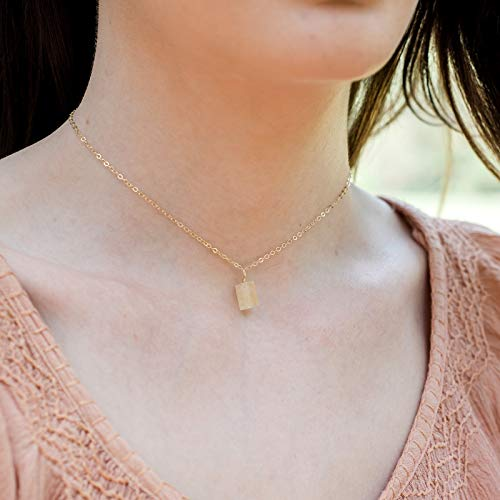 - Tiny raw citrine gemstone pendant choker necklace in 14k gold fill - 12