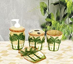 palm tree kitchen accessories palm tree tropical bath set bathroom 4088