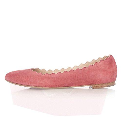 Flats Women Size Pink Cute Scalloping Suede Ballet Comfort Dress Round FSJ 4 Shoes Toe for US 15 Light zB7dwzxq