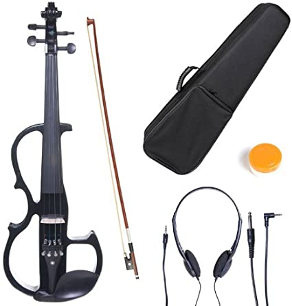 Cecilio L4//4CEVN-L2BK Left-Handed Solid Wood Black Metallic Electric Violin with Ebony Fittings in Style 2 Full Size
