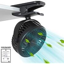 VENKIM 充電クリップ式卓上扇風機 携帯 ミニ 静音 720°角度調整 ...