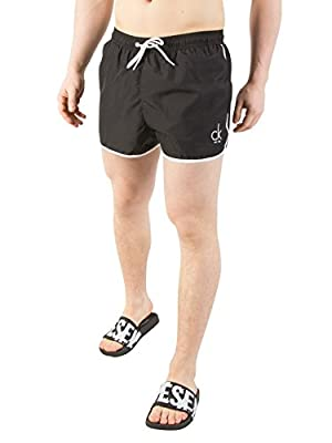 Calvin Klein Men's Short Runner Swimshorts, Black