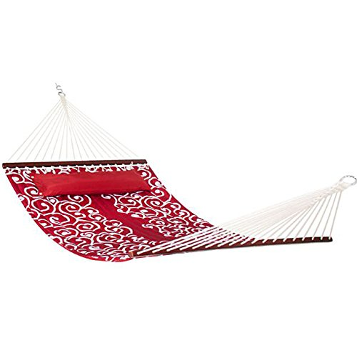 eXXtra Store Double Hammock With Wood Spreader Bar Red With White Accents Quilted Fabric + (Quilted Accent)