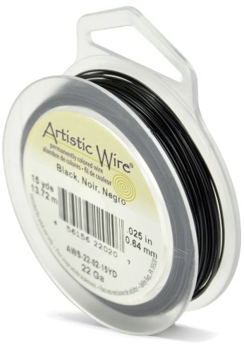 Artistic Wire 22-Gauge Black Wire, 15-Yards (AWS-22-02-15YD)