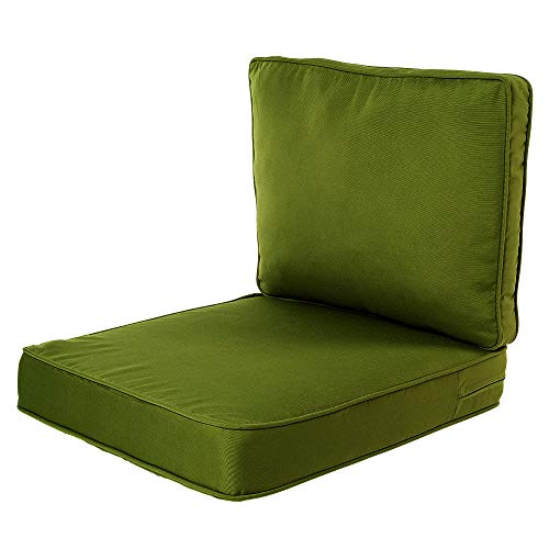 Quality Outdoor Living All Weather Deep Seating Patio Chair Seat and Back Cushion Set, 23-Inch by 26-Inch, Basil (Pack of ()