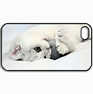 Personalized Protective Hardshell Back Hardcover For iPhone 4/4S, Cats White Kitten 26408 Design In Black Case Color