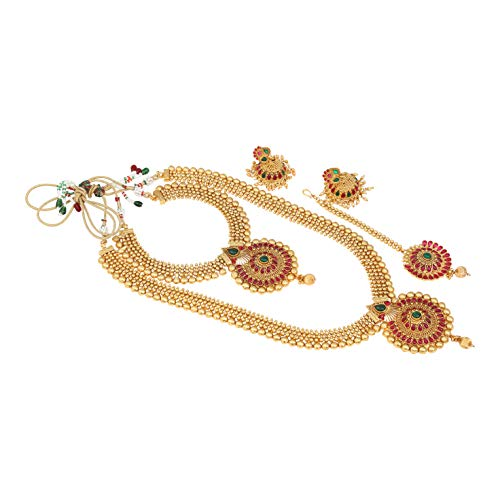 Indian Designs Ethnic Temple Jewellery Gold Plated Long Necklace Set Long and Short