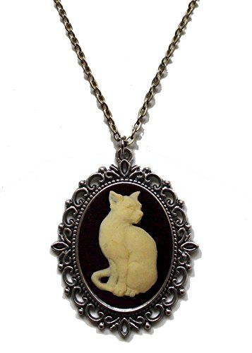 Victorian Vault Cat Cameo Steampunk Gothic Pendant Necklace on Chain (Goth Cheshire Cat Costume)
