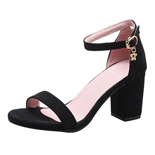 YE Damen Blockabsatz High Heels Sandalen Plateau mit Pumps Knöchelriemchen und Schnalle Offen Sommer Schuhe Schwarz