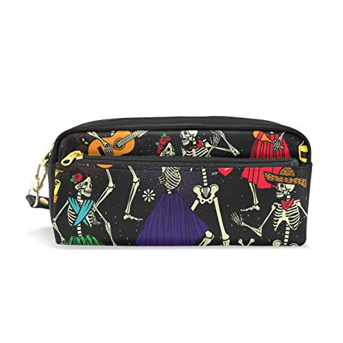 MERRYSUGAR Pencil Case Sugar Skull Halloween Purple Music Cosmetic Makeup Zipper Bag Pencil Bag for Girls Boys School Kids Stationery Pouch Bag Leather Large Capacity