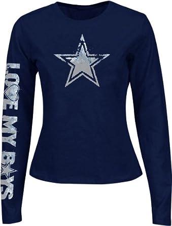 b168d2bf Amazon.com: NFL Dallas Cowboys Ladies Starburst Long Sleeve T-Shirt ...