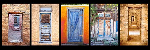 12 x 36 inch panoramic photograph of a brick, stone and painted colorful Southwest Doors.
