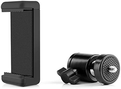 HIFFIN® Cell Phone Holder Clip and Ball Head Adapter Set for Tripod and Selfie Stick with 1/4 Screw, Universal Tripod Mount, Camera Tripod Ball Head, 360 Degree Swivel Cell Phone Tripod Mount Set
