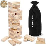 Jurnwey Timber Tower 54 Pieces Wooden Blocks Hardwood Block with Storage Bag Organizer Stacking Game for Weddi