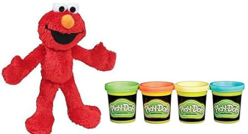 (Hasbro Play-Doh Glow In The Dark 2oz And Sesame Street Plush Pal Elmo 9in)