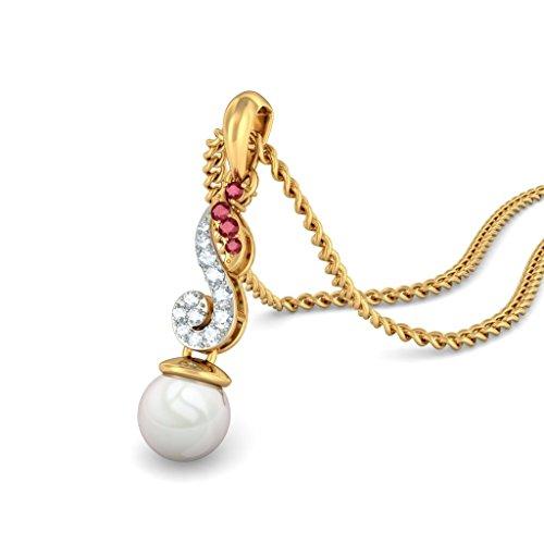 14K Or jaune 0,14CT TW Round-cut-diamond (IJ   SI) et rubis et blanc perle Pendentif
