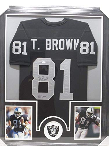 (Tim Brown Signed Photo - HOF Jersey Framed w Photos CoA - JSA Certified - Autographed NFL Photos)
