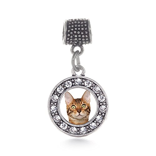 Inspired Silver Bengal Cat Circle Memory Charm Fits Pandora Bracelets & Compatible with Most Major Brands such as Chamilia, Murano, Troll, Biagi and other European Bracelets