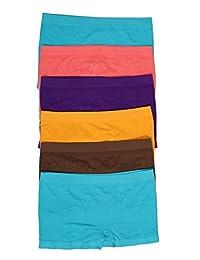 Sakkas Women's Seamless Stretch Boy Short Panties (6 Pack)