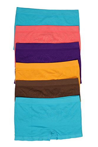 Sakkas BS2210PL Women's Seamless Stretch Panties / Boy Shorts - Assorted Color 6 Pack - Diamond Rose - One Size