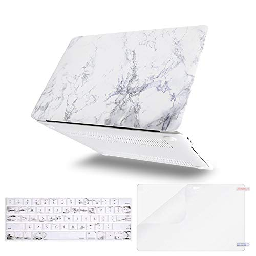 MOSISO MacBook Pro 15 inch Case 2019 2018 2017 2016 Release A1990 A1707, Plastic Pattern Hard Shell & Keyboard Cover & Screen Protector Compatible Newest Mac Pro 15 Touch Bar, White Marble