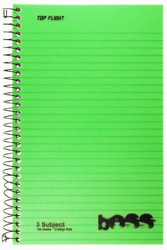Top Flight Boss Poly Cover 3-Subject Wirebound Notebook, 108 Sheets, College Rule, 9.5 x 6 Inches, 1 Notebook, Cover Color May Vary (43002)