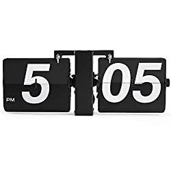 Rejea Flip Wall Clock Mechanical, Digital Bold Number, Wall Mounted/Tabletop, 14.2 x 6.3 x 3.5 in, Auto Flipping Down Cards, Matte Finished for Office, Home, Kitchen (Stainless Steel Black - Large)