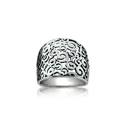 Sterling Silver High Polished Hollow Filigree Swirl Wide Ring, Size (Wide Filigree Swirl Ring)