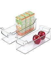 "iDesign Plastic Fridge and Freezer Storage Organizer Bin with Handles, Clear Bin for Food, Drinks, Produce Organization, BPA-Free, 14.5"" x 5"" x 5"", Set of 2, Clear"