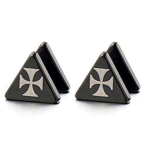 Noir Triangle Bouchon d'oreille avec Croix -Homme Femme Jauge d'oreille Faux Cheater Fake - Boucles d'oreilles - Acier