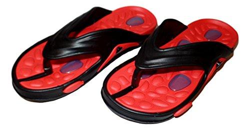 101 BEACH Mens Shock Absorbing Summer Flip Flop Waterproof Sandals Red
