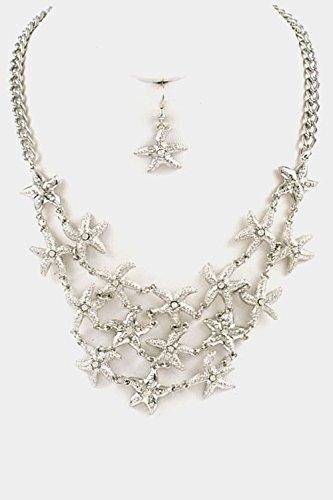 Karmas Canvas Starfish Linked Bib Necklace Set (Rhodium) (Starfish Adult Costume)