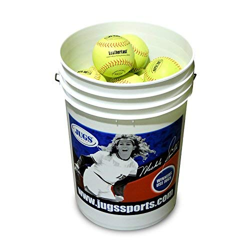 (Bucket of JUGS LeatherLast Softballs-2 Dozen. Regulation Size & Weight. Leather Softball Designed specifically for Pitching Machines. Optic Yellow, Full-Grain Leather Cover. 1-Year Guarantee.)