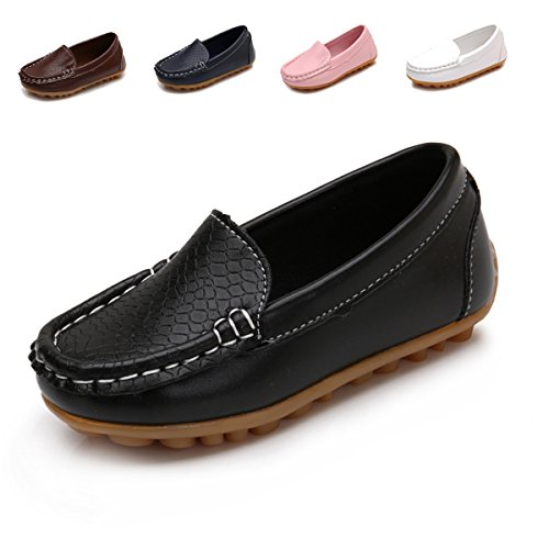 Toddler Boys Girls Leather Loafers Slip On Boat Dress Shoes Flat (10 M US Toddler, Black) by Goeao