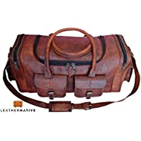 """Leather Native New Large Men's Leather Vintage 22"""" Duffle Luggage Weekend Gym Overnight Travel Bag Great Gift For Men And Women Summer Sale!"""