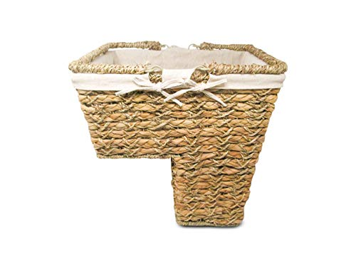 Stair Basket - Trademark Innovations Storage Stair Basket Organizer Set with Handles and Fabric Liner