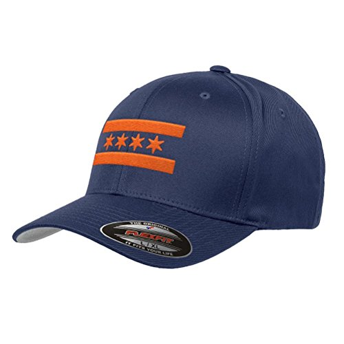 Navy Blue Chicago Bears Orange Flag Flexfit Premium Classic Yupoong Wooly Combed Hat 6277 - L/XL